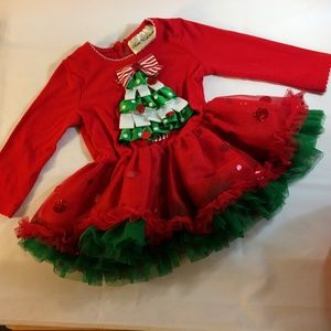 Rare Editions Red Green Christmas Dress Girl's 12M